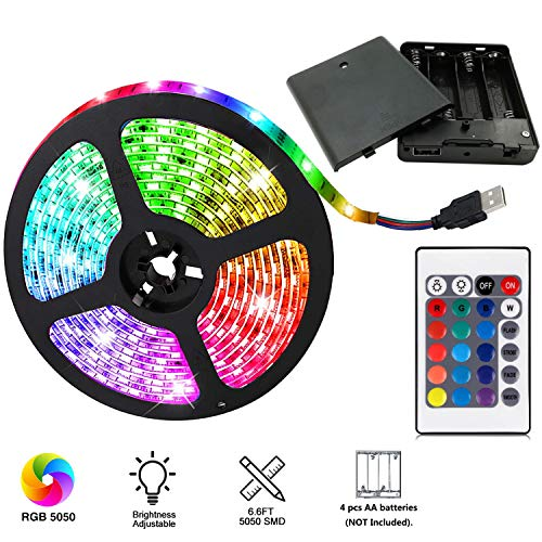 aijiaer Battery Powered Led Strip Lights, 5050 2M/6.6FT, Waterproof Flexible Color Changing RGB LED Light Strip, 60 LEDs 5V Battery-powered with RF Controller ()