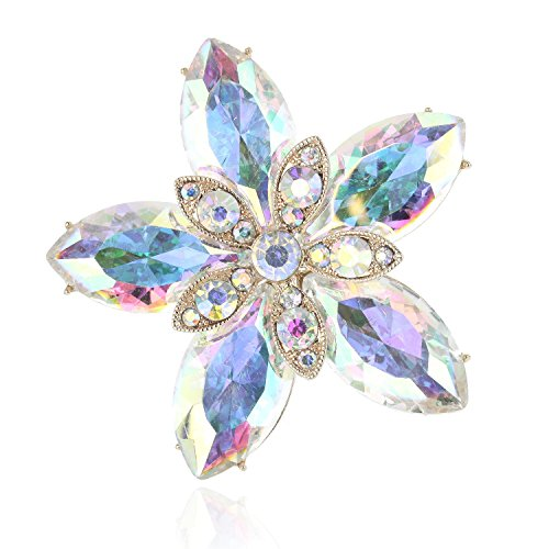 SP Sophia Collection Women's Shining Star Austrain Crystal Wedding Brooch in Iridescent