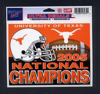 University of Texas UT Wincraft ULTRA Decal 2005 National Champions Sticker 4x6