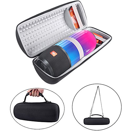 Hard Travel Bag Carrying Cover Case for JBL Pulse 3 Pulse3 Wireless Portable Bluetooth Speaker Protective Cover with Shoulder Strap (Black+Gray)