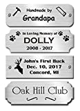 1'' H x 3'' W, Silver Finish Solid Copper Nameplate, Personalized Custom Laser Engraved Label Art Tag for Frames Notched Square or Round Corners Made to Order