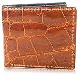 Genuine Alligator Skin Leather Bifold Wallet Handmade (6 Card Slots, Cognac)