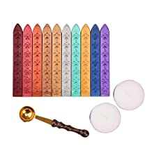 Outus Antique Sealing Wax Sticks Set without Wicks Retro Spoon and Candles for Retro Vintage Wax Seal Stamp, 13 Pieces