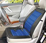 ABN Heated Seat Cushion – 12V Adjustable Temp in Blue/Black – Heated Chair Cover for Vehicle, RV, or Office Chair