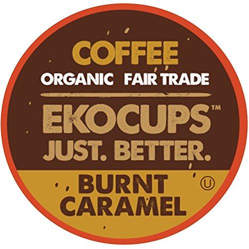 Caramel Organic Coffee - EKOCUPS Artisan Organic Burnt Caramel, Dark Roast Coffeein Recyclable Single Serve Cups for Keurig K-Cup Brewers, 40 Count