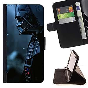 KingStore / Leather Etui en cuir / Samsung Galaxy S6 EDGE / Señor Oscuro Darth Vader