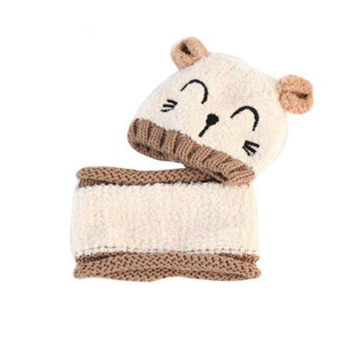 2 PCS Baby Winter Hat and Scarf Set Cap Embroidery Cat Earmuffs Warm Hat