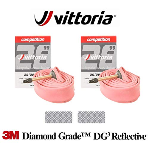 Vittoria Competition Latex 19-23C Presta SV 48mm - 2 x Road Bike Tubes Bundle with 3M Diamond Grade Reflextive Stickers