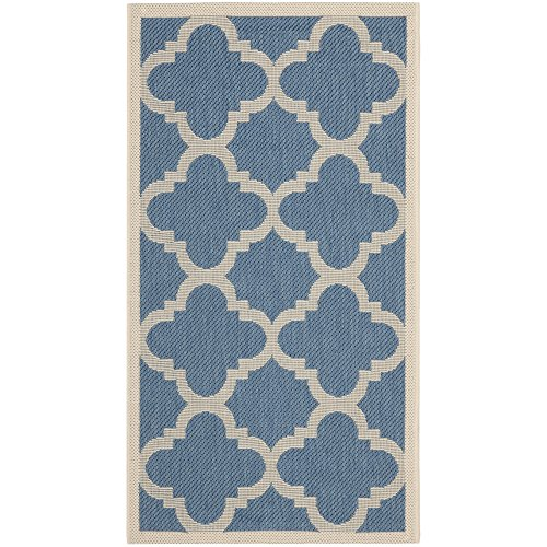 Safavieh Courtyard Collection CY6243-243 Blue and Beige Indoor/Outdoor Area Rug (2'7