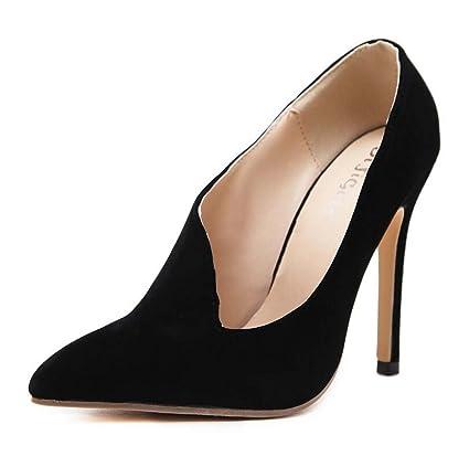 24773f2487e64 Amazon.com: Pump 12cm Scarpin Pointed Toe Suede High-heels Court ...