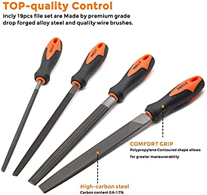 Metal INCLY 18 PCS Metal File Set Model /& Hobby Applications Small Wood Hand File Kits High Carbon-Steel Round Flat Half-Round Triangular and Precise Needle File Ideal Tool for Woodwork