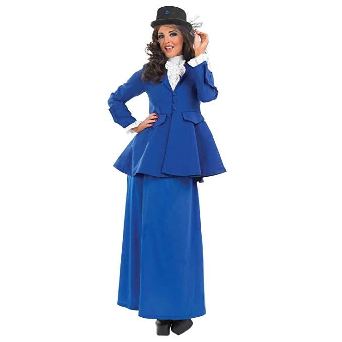 1900s, 1910s, WW1, Titanic Costumes fun shack Womens Victorian Lady Costume Adults Blue Historical Dress Outfit $24.95 AT vintagedancer.com