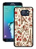 Galaxy S6 Edge+ Case,France Paris Love City Eiffel Tower Floral Pattern Black Shell Case for Samsung Galaxy S6 Edge Plus,Fashion Look