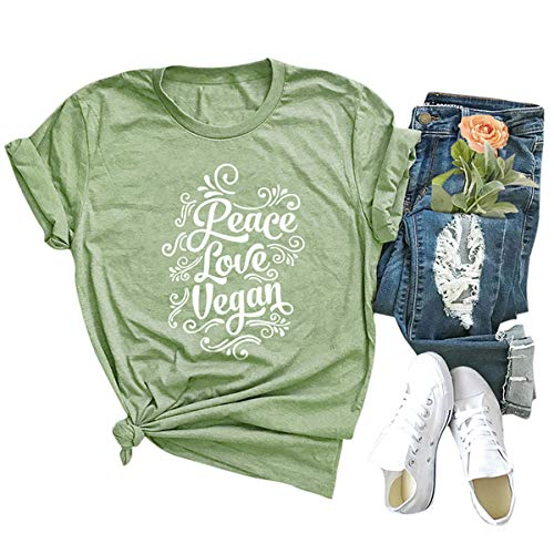 Festnight Women Funny T-Shirt Casual Cotton Shirt Peace Love Vegan Print Short Sleeve Tee Tops O-Neck Loose Plus Size Blouse Army Green