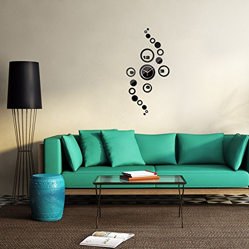 Wall Stickers,GOODCULLER Wall Clock 3D DIY Circle Pattern