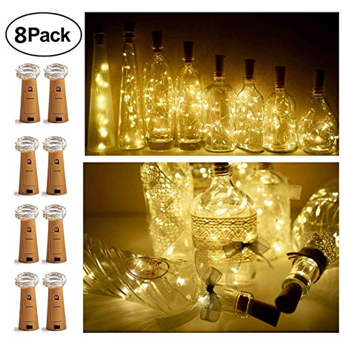 8 Pack 20 LED Wine Bottle Cork Lights, Fairy Mini String Lights Copper Wire, Battery Operated Starry Lights for DIY, Christmas, Halloween, Wedding, Party, Indoor&Outdoor (Warm White)