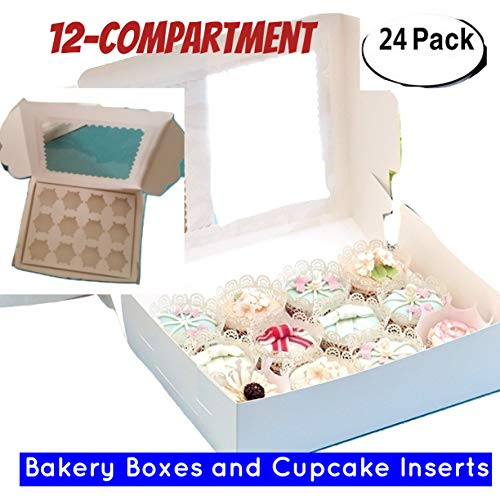Window Bakery Cupcake Box With Insert, Bakery Boxes for Cupcakes with Display Window 12 Pack Cupcake Boxes (24, 14