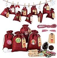 Adventskalender Jutebeutel zum Befüllen und Aufhängen, 24 Stoffbeutel für Geschenk-Verpackung, 2020 Weihnachten...