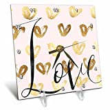 3dRose PS Inspiration - Image of Gold Pink Love Glitz Hearts - 6x6 Desk Clock (dc_280697_1)
