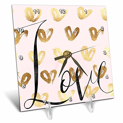 3dRose PS Inspiration - Image of Gold Pink Love Glitz Hearts - 6x6 Desk Clock (dc_280697_1) by 3dRose (Image #1)
