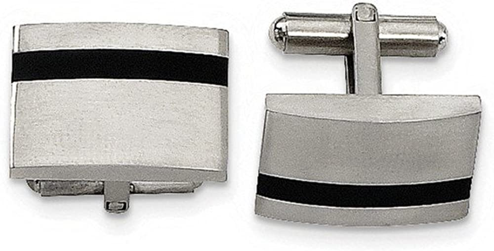 14 x 21mm Black Bow Jewelry Mens Stainless Steel Brushed and Black Rubber Cuff Links