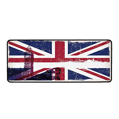 Union Jack Personalized Mouse Pad,Grungy Aged UK Flag Big Ben Double Decker Country Culture Historical Landmark Decorative for Work Game,15.75''Wx35.43''Lx0.12''H