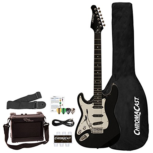 Sawtooth 6 String Left-Handed Solid-Body Electric Guitar, Black with Chrome Pickguard (ST-ES-LH-BKC-BEG-KIT)