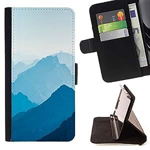 Momo Phone Case / Flip Funda de Cuero Case Cover - Blue Mountains;;;;;;;; - Samsung Galaxy J3 GSM-J300