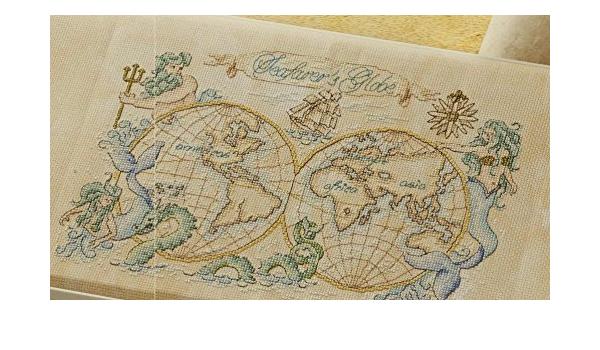 World Map Series 5 Counted Cross Stitch Kits 166x144 Stitch,35x45cm Cross Stitch Needlework