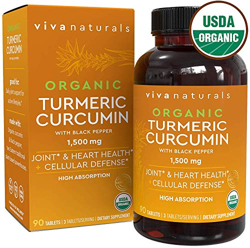 Organic Turmeric Curcumin Supplements with Black Pepper for Better Absorption | 1500mg High Potency Turmeric Tablets Organic for Joint Support, Joint Supplements for Men & Women, 90 Tablets.