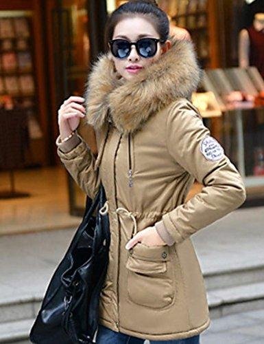 Thin Sleeve Thick Long CoatStreet Long Casual Trim Women's Plus Size Fur Daily Padded Solid YRF xl chic Hin Hooded azwPgnq