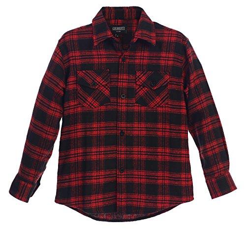 Gioberti Boys Long Sleeve Plaid Checked Flannel Red / Black Shirt, Size 4