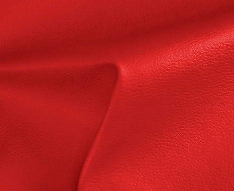 0,50 Metros de Polipiel para tapizar, Manualidades, Cojines o forrar Objetos. Venta de Polipiel por Metros. Diseño Solar Color Rojo Ancho 140cm