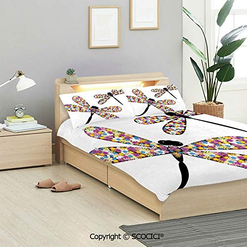 SCOCICI Modern Decor Bedding Sets 3 Pieces(1 Duvet Cover 2 Pillow Shams) Dragonflies with Colorful Alluring Wings and Black Bodies Print Duvet Cover Sets for Kids/Twin/Single All Seasons