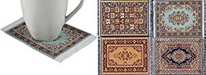 Lot of 4 Elegant Carpet Coasters – Fabric with Oriental Designs – Kitchen and Bar Mats