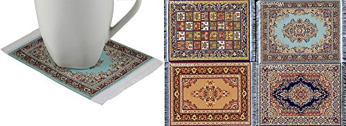 Wovenrugs Lot of 4 Elegant Carpet Coasters - Fabric with Oriental Designs - Kitchen and Bar Mats