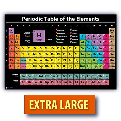 Science Element Chart - Periodic Table Science Poster Extra Large Laminated Chart Teaching Black Elements Classroom Decoration Jumbo Big Premium Educators Atomic Number Guide 24x30