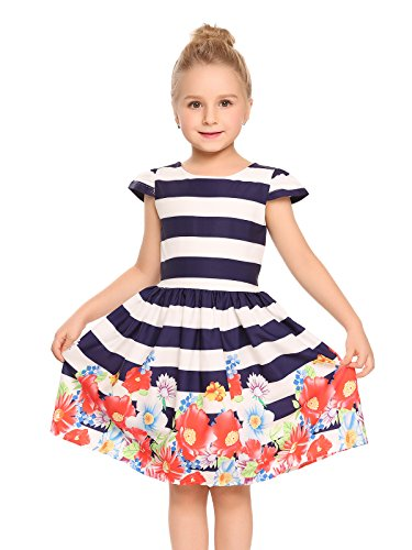 Arshiner Child Little Girl Cap Sleeve Striped Floral Print Pleated Casual Dress