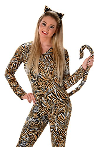 Women's Tiger Cat Suit Costume - Halloween (M) (Tiger Costume Adults)