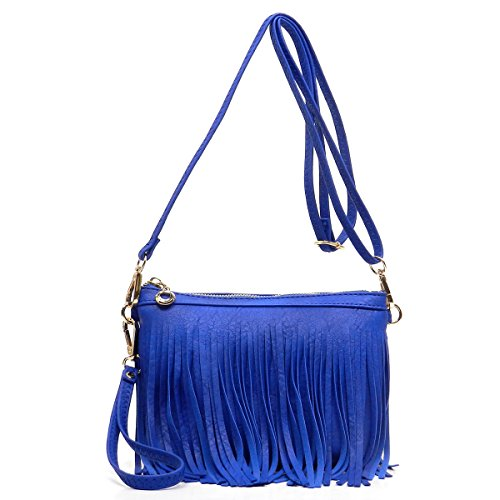Elphis Western Vintage Fringe Tassel Wristlet Clutch Hipster Shoulder Bag Cross Body Bag(091) (Royal Blue)