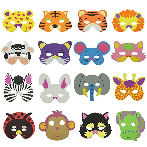 Bilipala 16 Counts Cute Cartoon Zoo Animal Face Masks for Kids Dress-Up -