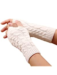 FZAY Trendy Knitted Arm Fingerless Winter Gloves Unisex Soft Warm Mitten (White)