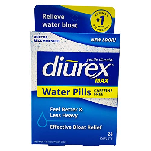 Diurex-Max Diuretic Water Caplet-24 Capsules-Relieves Water Weight Gain, Bloating, Puffiness & Fatigue Related to Menstruation Without the Caffeine