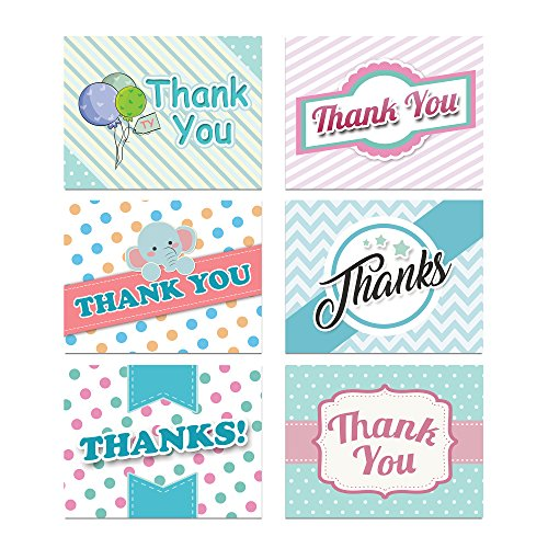 Baby Theme Thank You Card Assortment Pack - Set of 36 cards blank inside - 6 designs blank inside - with white envelopes