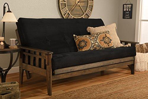 - Kodiak Furniture KF Tucson Full Size Futon Set in Rustic Walnut Finish Suede Black