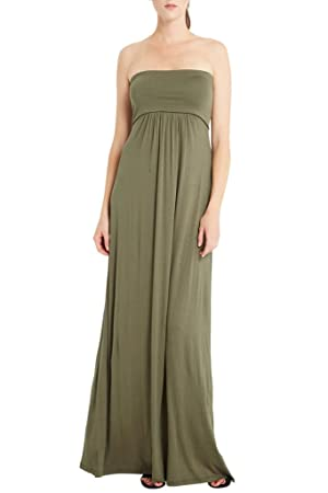 Women's Fashion Solid Jersey Knit Tube Comfy Stretch Soft Strapless Maxi Draped Dress USA Olive L