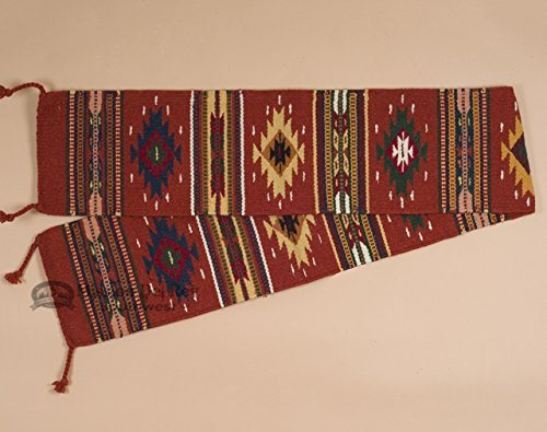 Mission Del Rey Southwestern Table Runner -Hand Woven Wool 10''x80'' -Rust by Mission Del Rey