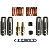 Verschleissteile Set MB15 Gasdüsen, Düsenstöcke, Stromdüsen MIG/MAG 0,8mm Stromdüse Düsenträger für MB 15, SB 15, TBI150, Tops 150 Brenner und viele andere