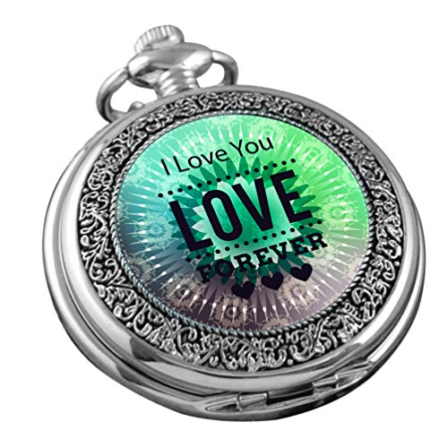 VIGOROSO Pocket Watch for Women Her Wife Mom Engraved I Love You Forever, Personalized Gift for Mother's Day Birthday Anniversary in Box (Watch You)