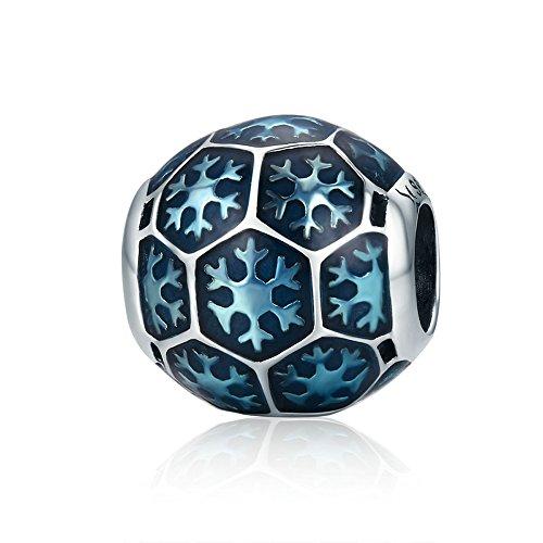 Everbling Winter Frozen Snowflake 925 Sterling Silver Bead Fits European Charm Bracelet (Blue Enamel 1) (Jewelry Silver Sterling Frozen)